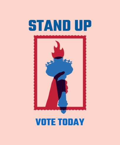 Voting Campaign T-Shirt Design Template Featuring a Torch Graphic 1990c
