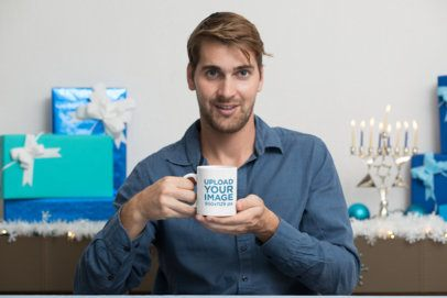11 oz Coffee Mug Mockup Featuring a Man at a Hanukkah Celebration 30645