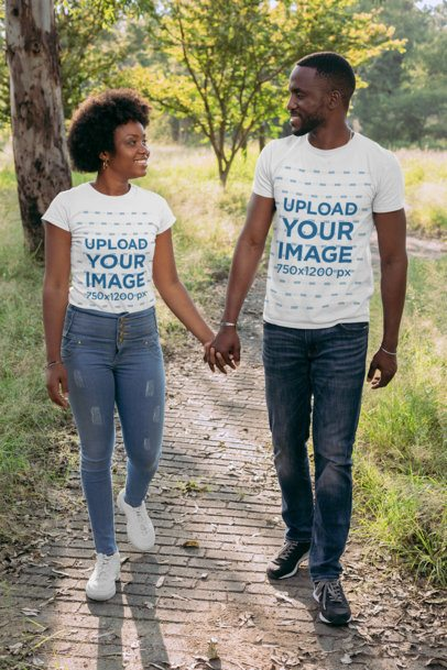 Mockup of a Couple Holding Hands While Walking in the Park 30607