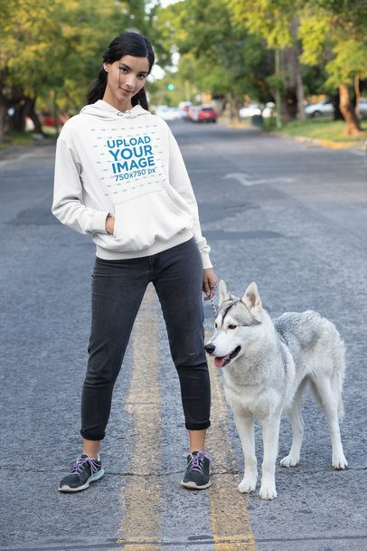 Pullover Hoodie Featuring a Woman Walking Her Dog down the Street 30665