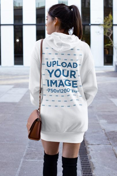 Back View Mockup of a Woman Wearing a Hoodie Dress 30518