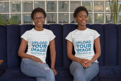 Mockup of a Mom and Daughter Wearing T-Shirts and Smiling 30631