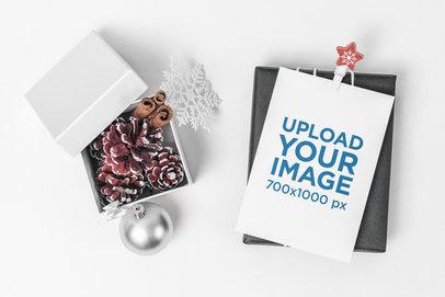 Postcard Mockup Featuring a Small Box with Christmas Ornaments 1254-el