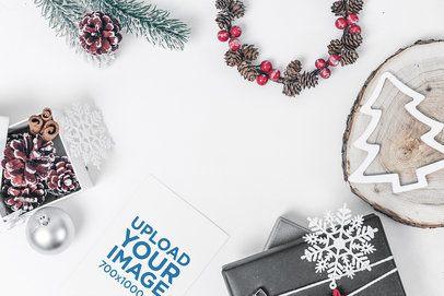 Mockup of a Christmas Postcard Among Seasonal Ornaments 1256-el