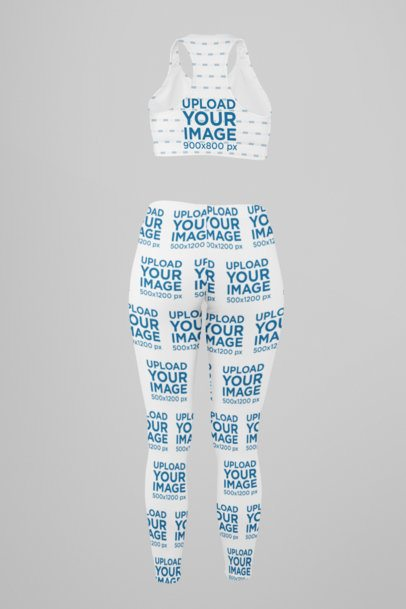 Ghosted Mockup of a Sublimated Sports Bra and Leggings 29501