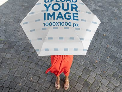 Top View Mockup of a Woman Holding an Umbrella 30736