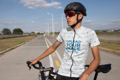 Mockup of a Young Man Wearing a Short Sleeve Cycling Jersey 30785