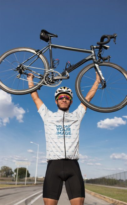 Short-Sleeve Cycling Jersey Mockup Featuring a Man Carrying a Bike 30790