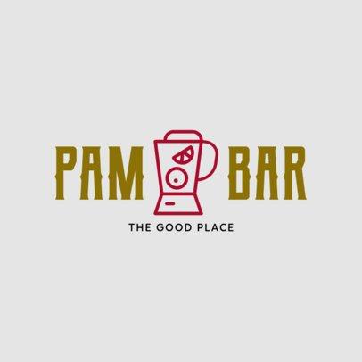 Cocktail Bar Logo Design Maker with a Blender Clipart 1812g-256-el