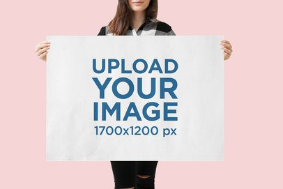 Mockup Featuring a Young Woman Holding a Poster at a Studio 1318-el