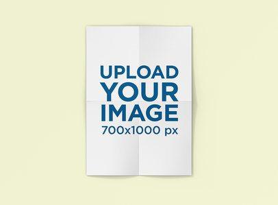 Folded Poster Mockup with a Plain Color Background 1239-el