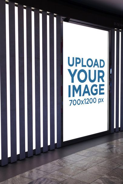 Mockup of a Vertical Banner Placed on an Illuminated Hall 1185-el