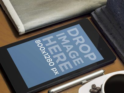 Nexus 7 Coffee And Newspaper Wooden Table
