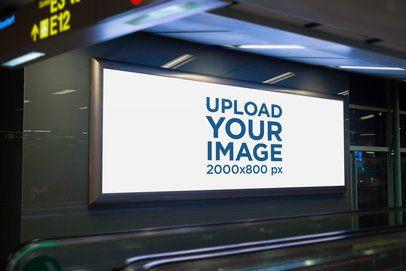 Mockup of a Horizontal Banner Inside an Airport 1188-el