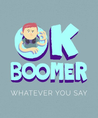 T-Shirt Design Template with Boomer-Inspired Illustrations 2042