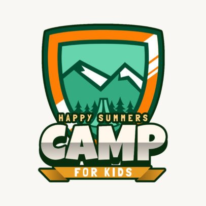 Kids Camp Logo Maker Featuring a Mountain Landscape 2753b