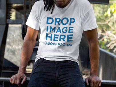 V-Neck T-Shirt Mockup of a Young Black Man With Dreadlocks a8756