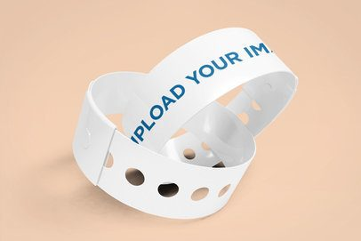 Mockup of Two Vinyl Wristbands Intertwined 1395-el