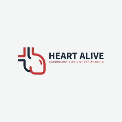 Cardiology Clinic Logo Template with a Heart Clipart 2510e-229-el