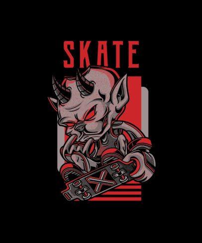 T-Shirt Design Template Featuring a Devil Character Skating 97a-el