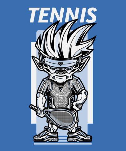 T-Shirt Design Template Featuring an Aggressive Cartoon with a Tennis Racket 97d-el