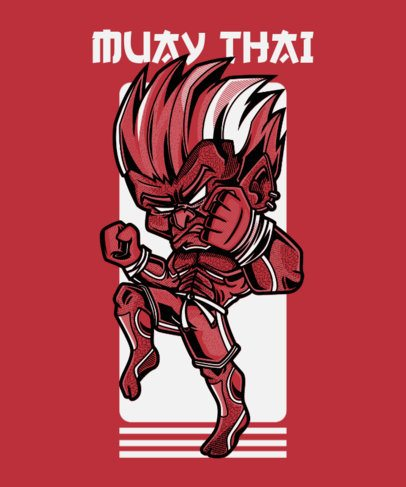 Muay Thai T-Shirt Design Creator with a Character in a Street Art Style 97g-el