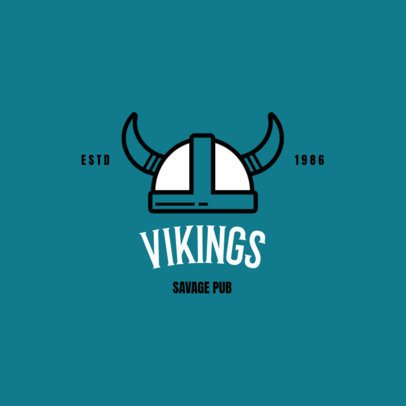 Pub Logo Maker with a Viking Helmet Icon 237a-el