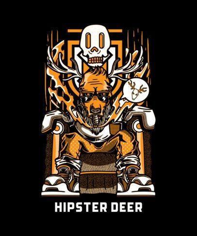 T-Shirt Design Creator of a Hipster Deer in Street Art Style 43j-el