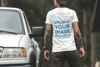 Back View Mockup of a Man Wearing a T-Shirt by a Truck 1837-el1