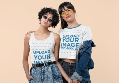 Mockup of Two Cool Women Wearing a Tank Top and a Ringer Tee 30393