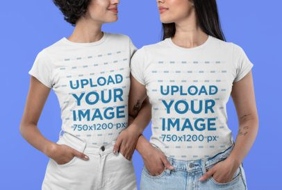 Cropped Face T-Shirt Mockup Featuring Two Women Smiling 30414