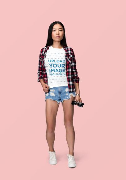 T-Shirt Mockup of a Woman Wearing Daisy Dukes and a Flannel Shirt 1864-el1