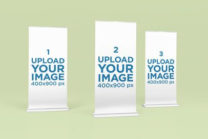 Mockup of Three Roll-Up Banners 1520-el