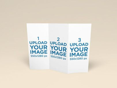 Mockup Featuring a Trifold-Brochure Standing Against a Plain Color Background 1521-el