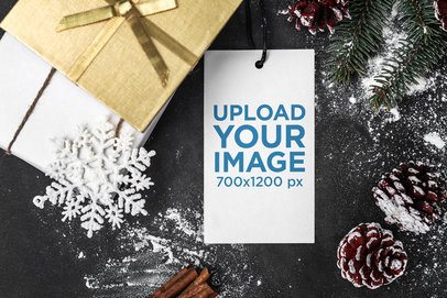 Gift Tag Mockup Featuring a Snowy Christmas Setting 2076-el