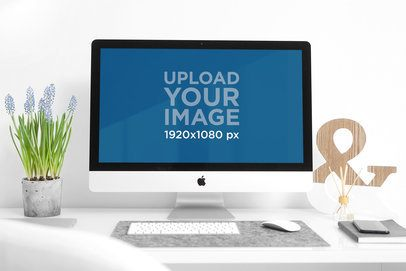 Mockup of an iMac on a Modern Desk 2138-el