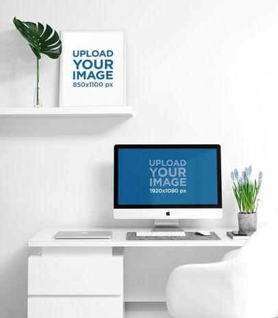 Mockup of an iMac on a Desk with Art Print 2147-el1