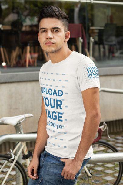 T-Shirt Sleeve Mockup of a Man Leaning on a Bike Rack 30874