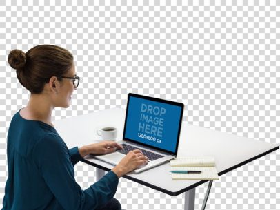 MacBook Mockup of a Female Executive at Work a11561