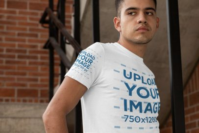 T-Shirt Sleeve Mockup Featuring a Man Inside a Building 30876