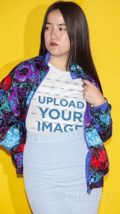 Stop-Motion T-Shirt Video Featuring a Woman in a Colorful Jacket 22436