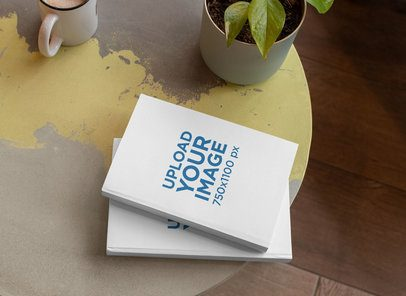Mockup of Two Hard Cover Books on a Table Next to a Plant 30917