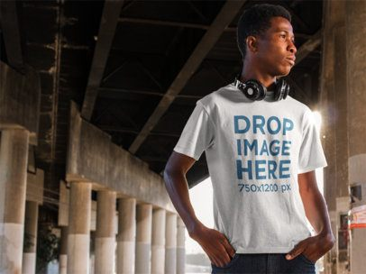 T-Shirt Template of a Young Black Man Under a Bridge a8814