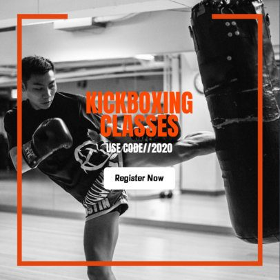 Sports Banner Maker for Kickboxing Classes 362n 2068