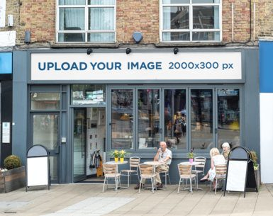 Storefront Mockup Featuring a Horizontal Banner Placed on a Restaurant Facade 583-el1