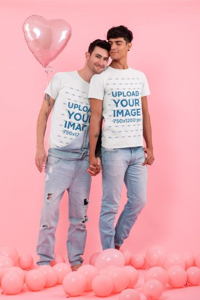 T-Shirt Mockup Featuring an LGBT Couple Romantically Holding Hands 31197