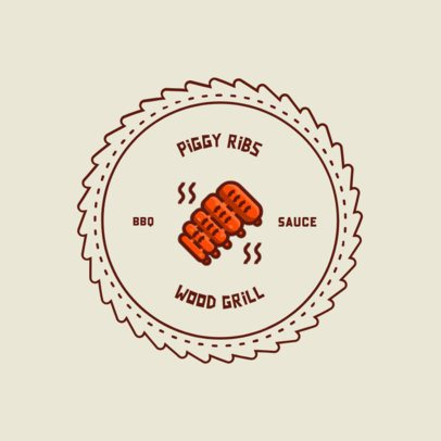 Restaurant Logo Creator with a Grilled Ribs Clipart 311b-el1