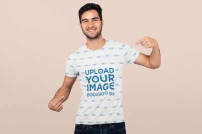 Mockup Featuring a Man Proudly Pointing at His Sublimated Tee 31258