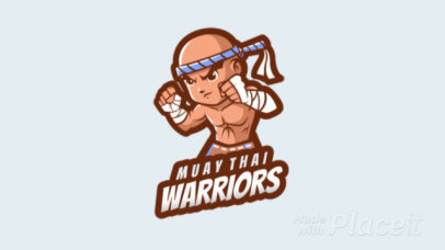 Animated Logo Template for a Fighting Game Featuring a Muay-Thai Warrior 1872e