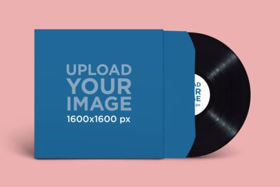 Mockup of an Album Cover and a Vinyl Record 2350-el1